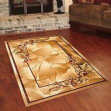 Designer Teppich Klassisch mit Konturenschnitt - Bordüre mit Natur 3D Muster BEIGE - Beste Qualität -Roma Kollektion 200 x 290 cm
