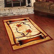 Designer Teppich Klassisch mit Konturenschnitt - Bordüre mit Papyrus 3D Muster TERRAKOTTA - Beste Qualität -Roma Kollektion 60 x 100 cm