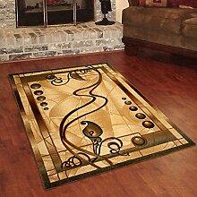 Designer Teppich Klassisch mit Konturenschnitt - Bordüre mit Natur 3D Muster Creme - Beste Qualität -Roma Kollektion 60 x 100 cm