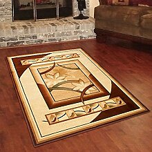 Designer Teppich Klassisch mit Konturenschnitt - Bordüre mit 3D Muster Creme - Beste Qualität -Roma Kollektion 240 x 330 cm