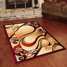 Designer Teppich Klassisch mit Konturenschnitt - Bordüre mit Wellen 3D Muster Creme - Beste Qualität -Roma Kollektion 70 x 140 cm