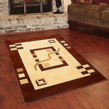 Designer Teppich Klassisch mit Konturenschnitt - Bordüre mit 3D Muster CREME BRAUN - Beste Qualität -Roma Kollektion 190 x 270 cm