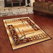 Designer Teppich Klassisch mit Konturenschnitt - Bordüre mit Antik 3D Muster BEIGE - Beste Qualität -Roma Kollektion 180 x 260 cm
