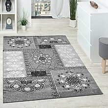Designer Teppich Klassische Ornamente Kronleuchter Optik Grau Anthrazit Silber , Grösse:200x280 cm