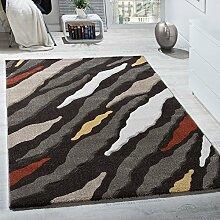 Designer Teppich Kurzflor Hoch-Tief Struktur Fell Optik Braun Beige Creme Weiß, Grösse:80x150 cm