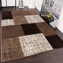 Designer Teppich Kurzflor Karo Muster Braun Creme Meliert, Grösse:80x150 cm