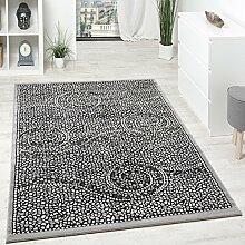 Designer Teppich Kurzflor Klassische Ornamente Mosaik Stein Optik Grau Silber , Grösse:80x150 cm