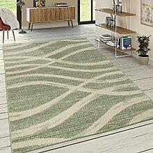Designer Teppich Kurzflor Wellen Muster Pastelltöne Modern In Grün Creme, Grösse:120x170 cm