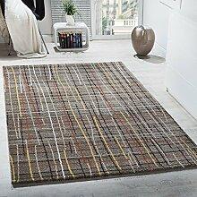 Designer Teppich Kurzflor Wohnzimmer Gitternetz Optik Braun Mehrfarbig Meliert , Grösse:120x170 cm