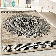 Designer Teppich Kurzflor Wohnzimmer Meliert Geometrische Formen Muster In Braun, Grösse:240x340 cm