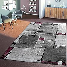 Designer Teppich Linien Karo Grau Lila Speziell Meliert mit Konturenschnitt, Größe:80x150 cm