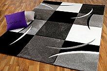 Designer Teppich Maui Schwarz Grau Karo in 4