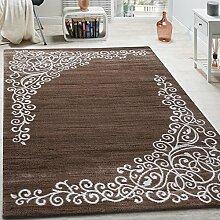 Designer Teppich Mit Floral Glitzergarn Muster Beige Weiß Braun Meliert, Grösse:240x340 cm