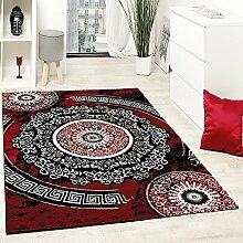Designer Teppich Mit Glitzergarn Klassisch Ornamente Gemustert Rot Schwarz Weiß, Grösse:80x150 cm