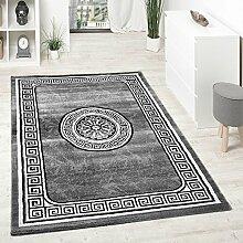 Designer Teppich Mit Glitzergarn Klassische Ornamente Bordüre Grau Schwarz Weiß, Grösse:80x150 cm