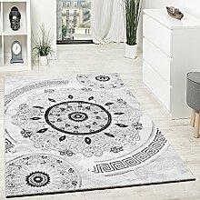 Designer Teppich Mit Glitzergarn Kurzflor Gemustert Grau Schwarz Anthrazit Weiß, Grösse:80x150 cm
