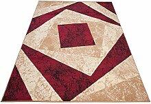 Designer Teppich mit Karo Kariert Meliert in Beige