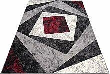 Designer Teppich mit Karo Kariert Meliert in Grau