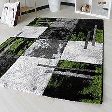 Designer Teppich mit Konturen in Grün Modern für Wohnzimmer Kurzflor mit 15mm Florhöhe Qualitativ in verschiedenen Größen mit Öko-Tex (120cm x 170cm)