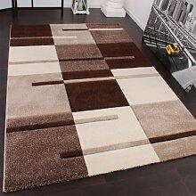Designer Teppich mit Konturenschnitt Karo Muster Beige Braun, Grösse:160x230 cm