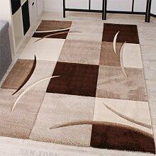 Designer Teppich mit Konturenschnitt Karo Muster Braun Beige, Grösse:300x400 cm