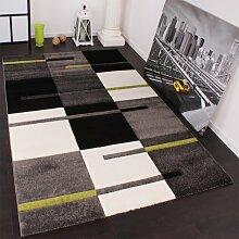 Designer Teppich mit Konturenschnitt Karo Muster Grün Grau Schwarz, Grösse:160x230 cm