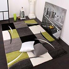 Designer Teppich mit Konturenschnitt Karo Muster Grün Schwarz, Grösse:120x170 cm