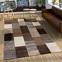 Designer Teppich mit Konturenschnitt Karo Muster In Braun Beige Grau Creme, Grösse:200x290 cm