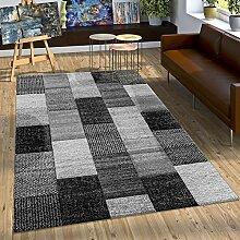 Designer Teppich Mit Konturenschnitt Karo Muster In Grau Silber Weiß, Grösse:120x170 cm
