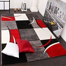 Designer Teppich mit Konturenschnitt Karo Muster Rot Schwarz, Grösse:160x230 cm