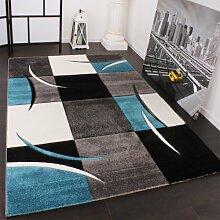 Designer Teppich mit Konturenschnitt Karo Muster Türkis Grau, Grösse:80x150 cm