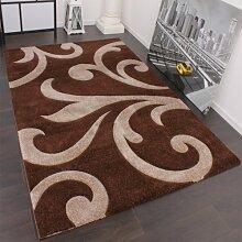 Designer Teppich mit Konturenschnitt Modern Braun Beige, Grösse:200x290 cm