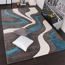 Designer Teppich mit Konturenschnitt Modern Grau Türkis Weiss, Grösse:200x290 cm