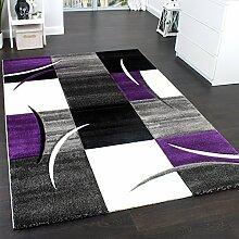Designer Teppich Mit Konturenschnitt Trend Teppich Modern Kariert Lila Schwarz Grau, Grösse:80x300 cm
