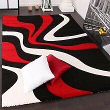 Designer Teppich mit Konturenschnitt Wellen Muster Rot Schwarz Weiss, Grösse:60x110 cm