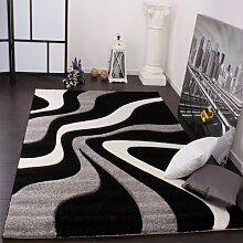 Designer Teppich mit Konturenschnitt Wellen Muster Schwarz Grau Weiss, Grösse:120x170 cm
