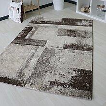 Designer Teppich mit Marmor Optik in Beige Kurzflor Wohnzimmerteppich trendig Modern in verschiedenen Größen (200 x 290 cm)