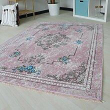 Designer Teppich mit Medaillion und Blüten Muster in Pink Rosa Rose Pastellfarbe waschbarer Teppich mit rutschfestem Rücken und Kelim Kilim Oberfläche hochweritg (80cm x 300cm)