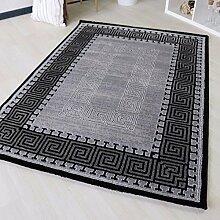 Designer Teppich mit Versace Muster in Schwarz mit Bordüre Umrandung. Moderner Teppich in verschiedenen Größen mit Öko-Tex (200 x 290 cm)