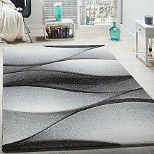 Designer Teppich Modern Abstrakt Wellen Optik Konturenschnitt In Grau Anthrazit, Grösse:120x170 cm