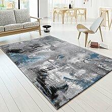 Designer Teppich Modern Arizona Leinwand Optik in Grau Türkis Schwarz Meliert , Größe:160x230 cm