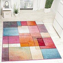 Designer Teppich Modern Bunt Karo Muster Multicolour Türkis Grün Fuchsia Meliert, Grösse:120x170 cm