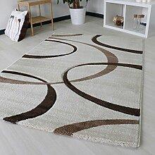 Designer Teppich Modern für Wohnzimmer in Beige Creme Weiß Top-Design Webteppich, 3.100gr/m² Qualitativ dichte Webung mit Öko-Tex (120cm x 170cm)
