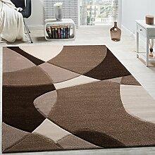 Designer Teppich Modern Geometrische Muster Konturenschnitt In Braun Creme Beige, Grösse:80x150 cm