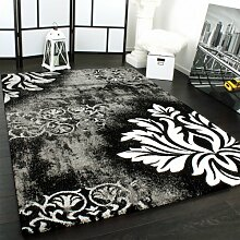 Designer Teppich Modern Handgearbeiteter Konturenschnitt in Grau Weiss Schwarz, Grösse:160x230 cm