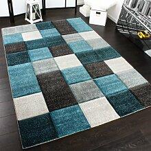 Designer Teppich Modern Handgearbeiteter Konturenschnitt Kariert Türkis Grau, Grösse:200x290 cm