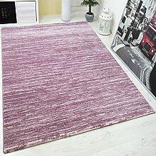 Designer Teppich Modern Hoch Tief Effekt mit Glitzer Gestreift in Rosa Pink Weiss Naturfreundlich – VIMODA; Maße: 120x170 cm