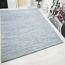 Designer Teppich Modern, Hoch Tief Effekt mit Glitzer, Gestreift in Turkis Weiss, Naturfreundlich, VIMODA; Maße: 200x290 cm