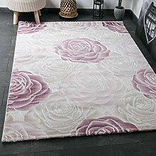 Designer Teppich Modern, Hoch Tief Effekt mit Glitzer, Rosen Muster in Rosa Pink Creme, Naturfreundlich, VIMODA; Maße: 80x300 cm