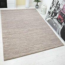 Designer Teppich Modern Hoch Tief Effekt mit Lurex Glitzer Gestreift in Braun Beige – VIMODA; Maße: 80x300 cm